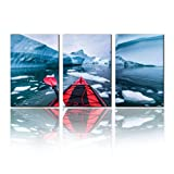 SALIZEN Kayaking in Antarctica Between Icebergs with Inflatable Kayak Extreme 3 Pieces Wall Art Paintings Perfect Canvas Art Vivid Color Modern Style Home, Living Room, Bedroom, Hotel Decoration Gift