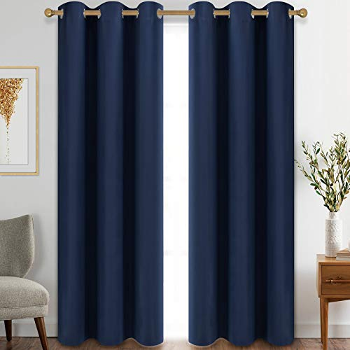 Diraysid Blackout Curtains for Bedroom Grommet Thermal Insulated Room Darkening Curtains (42 x 84 Inch, 2 Panels, Navy Blue)
