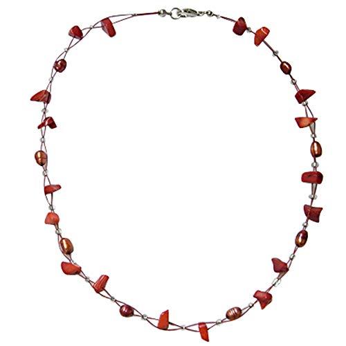 CHICNET Kette Damen Halskette Perlen Korallen Splitter rot Schmuckdraht 42 cm Karabiner nickelfrei