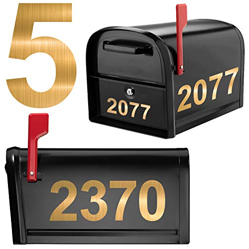 50 Pieces Self-Adhesive Vinyl Brushed Metal Texture Numbers Sets, Mailbox Numbers Waterproof Sticker 5 Sets (3  x 3 set , 4  x 2 set)  for Signs, Door, Cars, Trucks, Home, Address Number (Gold)