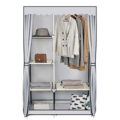 YOOKEA Kleiderschrank Stoffschrank mit Kleiderstange und Reißverschluss 170 x 105 x 45 cm Waschbarer Oxford-Stoff Faltschrank mit Fächern und Seitentasche, Grau