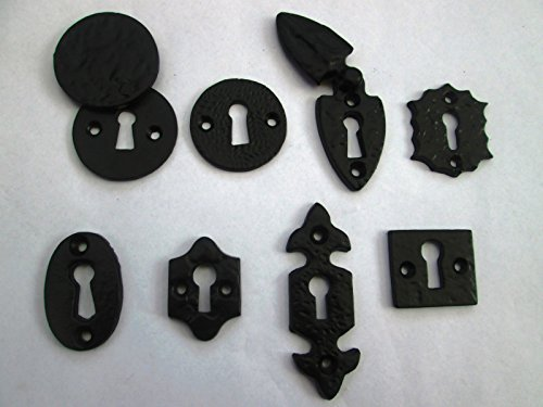 Ironmongery World Negro de hierro fundido envejecido cerradura clave agujero de instalación para cerradura de la puerta cerradura (1. Redonda Cubierta)