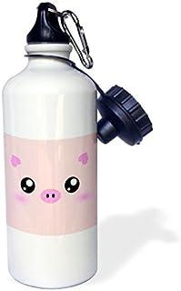 Carcasa Pig Face Cute Rosa minimalista granja Animal Cartoon Guardería infantil niño niños Girly Niñas deportes botella de agua botella de agua de acero inoxidable para mujeres hombres niños 400ml