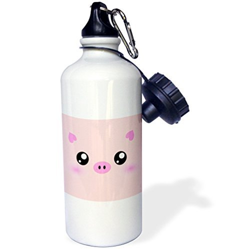 ANGELA G Leuke Gelukkig Varken Cartoon-Roze Kawaii Boerderij Dier-Kwekerij Kids Kind-Porker Varkensvlees Bacon Ham Sport Waterfles, 21 oz, Wit RVS Waterfles