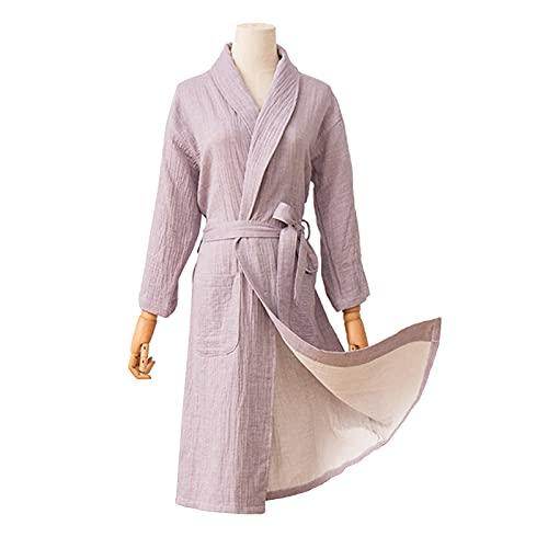 Batas de Baño Mujer Algodón Albornoz de Estilo Japonés, Fuerte Absorbente y Ligero Bata de Noche y Ropa de Dormir,Púrpura,Xlarge