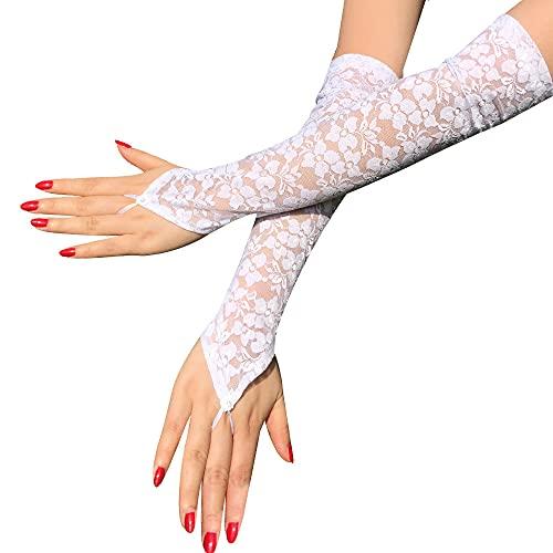 Jilibaba Guantes sin dedos para mujer, de encaje, para disfraz, baile, Halloween, cosplay, boda,