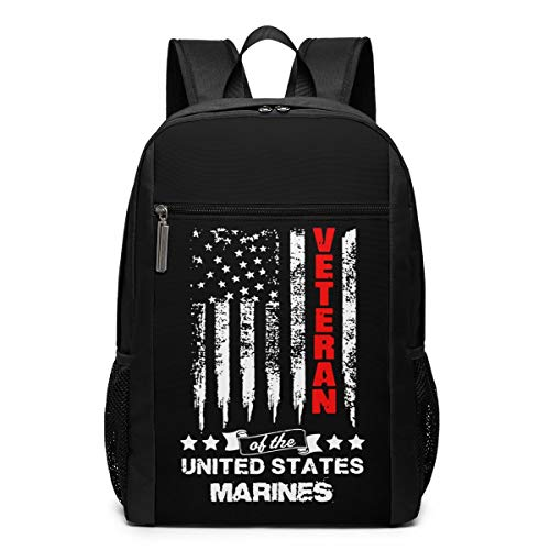 New American Flag Marines Veterans 17 Inch Laptop with Large Compartment Travel Computer Backpack fo...