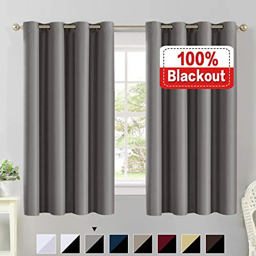 Flamingo P Full Blackout Grey Curtain Panels Set of 2, 100% Blakcout Curtains for Bedroom Lined Curtains 63 Inches Long Double Layer Curtains, Thermal Insulated Grommet Window Treatment Panels, Gray