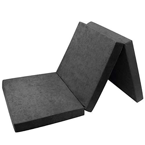 Fortisline Matelas d'appoint Pliant lit d'appoint lit d'invité futon Pouf 180x65x7 cm Couleur Gris