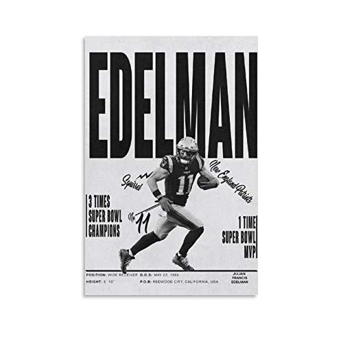 GSDGH American Football Player Julian Edelman Sport Poster 02 Leinwand-Kunst-Poster und Wandkunstdruck, modernes Familienschlafzimmerdekor, 40 x 60 cm