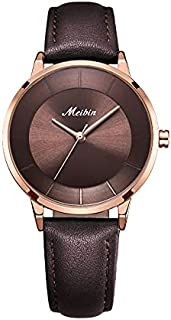 Meibin Analog Wrist Watch Leather Water Resistant For Women, M1202-BORG