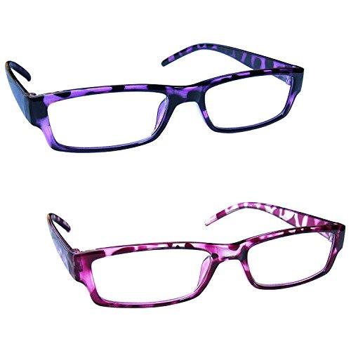 The Reading Glasses Company Die Lesebrille Unternehmen Leicht Leser Wert 2er-Pack Herren Frauen RR32-54 +2, 00, lila und rosa Schildpatt, 2 Stück