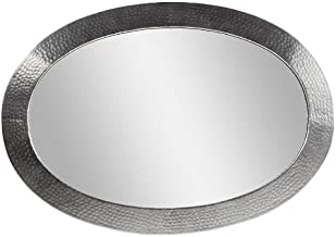 The Copper Factory CF137SN Solid Hammered Copper Framed Oval Mirror, Satin Nickel