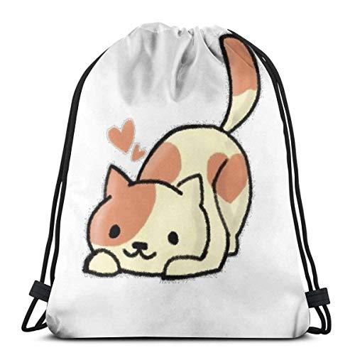 LAKILAN Drawstring Backpack,Gym Sack,Storage Goodie Cinch Bag,Lightweight Rucksack,Large Capacity Travel Bag,Men Sport Bag Peaches (Neko Atsume)