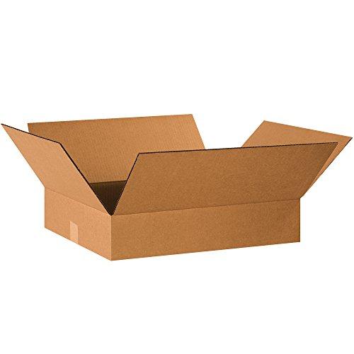 BOX USA B2016450PK Flat Corrugated Boxes, 20' L x 16' W x 4' H, Kraft (Pack of 50)