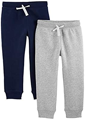 Simple Joys by Carter's Boys' Toddler 2-Pack Pull on Fleece Pants, Gray/Navy, 2T