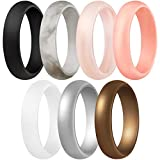 ThunderFit Women's Silicone Wedding Ring - Rubber Wedding Band - 5.5mm Wide, 2mm Thick (Women Bronze, White, Rose Gold, Silver, Light Pink, Marble, Black - Size 6.5-7 (17.3mm))