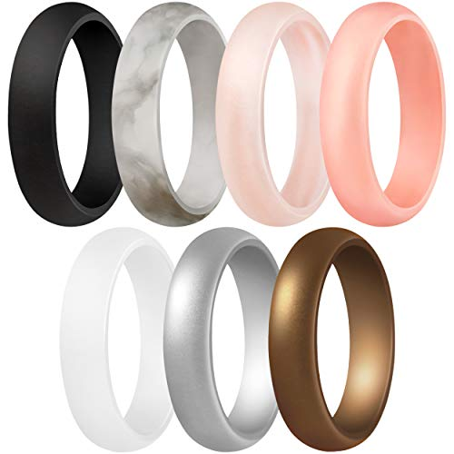 ThunderFit Women's Silicone Wedding Ring - Rubber Wedding Band - 5.5mm Wide, 2mm Thick (Women Bronze, White, Rose Gold, Silver, Light Pink, Marble, Black - Size 9.5-10 (19.8mm))