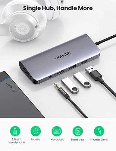 UGREEN USB C Hub 10 in 1 USB C Adapter mit 4K HDMI, VGA, USB 3.0, 100W PD, Ethernet, SD/TF, 3.5mm Audio kompatibel mit MacBook Pro 2020, Surface Pro 7, iPad Pro 2020, Samsung Dex usw.