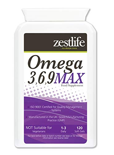 Zestlife Omega 3,6,9 MAX 1000mg - 120 Softgels - Helps to Maintain Healthy Skin, Hair, Teeth and Gums, Healthy Bones and Joints, Support for a Healthy Immune and Cardiovascular System.