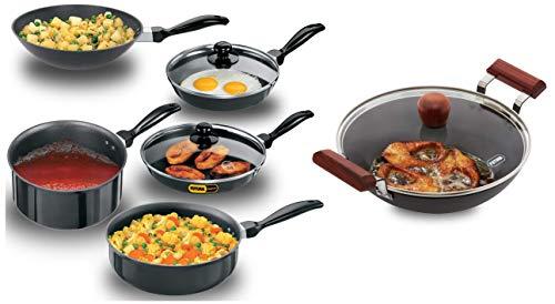Hawkins Futura Non-Stick Cookware, 7-Pieces, Black and Futura Hard Anodised Aluminium Deep Fry...