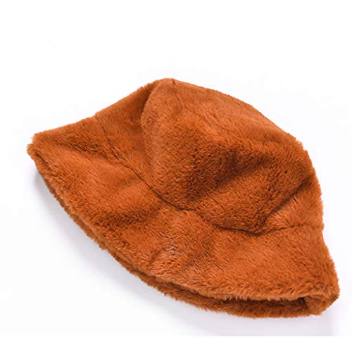 Winter Bucket Hat Cute Warm Thick Caps Casual Vintage Faux Fur Fuzzy Soft Hunting Fishing Hat Outdoor Stylish Solid Color Windproof Caps for Women Ladies (Coffee)