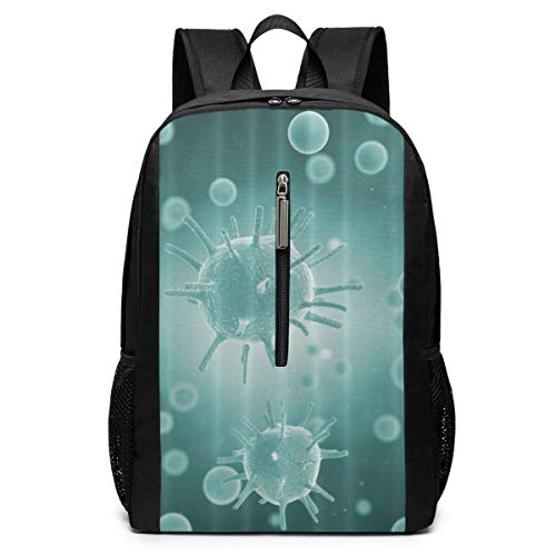 Green Serious Virus Cell Laptop Backpack College School Backpack 17 Inch
