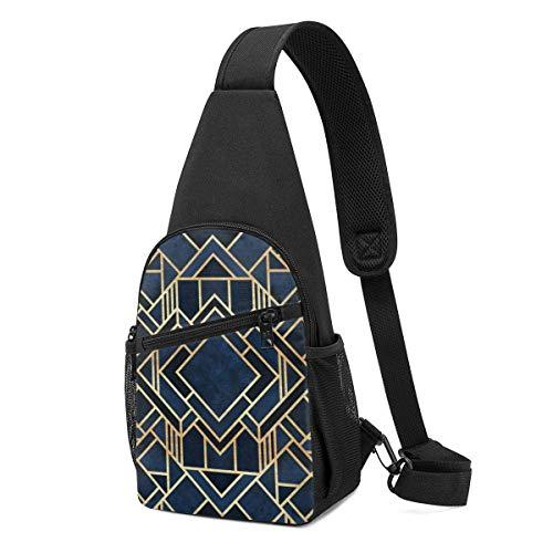 GIERTER Art Deco Fancy Blue Handtasche, Umhängetasche, Leicht Schulterrucksack Brustpackung Umhängetaschen Reise Wandern Tagesrucksäcke