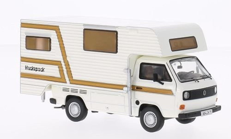 VW T3a flatbed platform trailer TischerCamping, white brown, Model Car, Readymade, Premium ClassiXXs 1 43