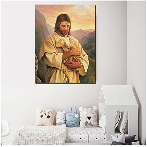 A&D Jesus Lamm Poster Buen Pastor Der Gute Hirte Gemälde auf Leinwand Moderne Kunst Dekorative Wandbilder Home Decoration -50x75cm No Frame