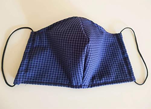 Mund- und Nasenschutz, Mundschutz, Schutzmaske aus Stoff blau schwarz kariert, Spezialgummi Länge anpassbar, sofort lieferbar aus DE