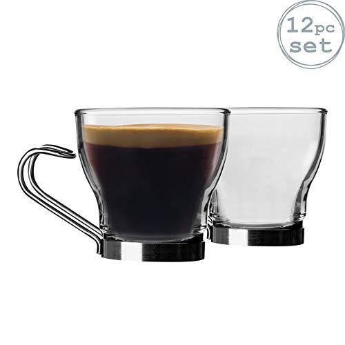Bormioli Rocco Oslo Espresso-Tassen-Set, klein, gehärteter Kaffeetassen, Edelstahlgriff, 100 ml, 12 Stück
