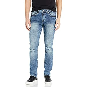 Men's Authentic and Sanded Denim Jeans Mid Light Wash