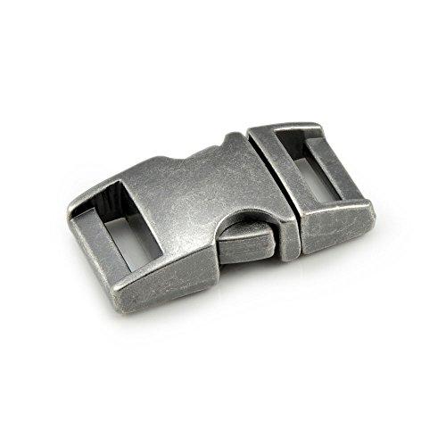 """Fermoir à clip en métal, idéal pour les paracordes (bracelet, collier pour chien, etc), boucle, attache à clipser, grandeur: M, 5/8"""", 39mm x 20mm, couleur: imitation pierre, de la marque Ganzoo - lot de 3 fermoirs"""