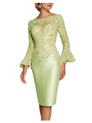 Royaldress Spitze Langarm Abendkleider Brautmutterkleider Hochzeitsgaeste Festliche Kleider Knielang Kurz Etuikleider -50 Hell Gruen
