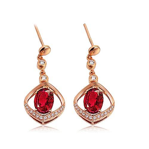 AMDXD Pendientes de oro rosa de 18 quilates, turmalina de 2,4 quilates con diamantes, pendientes de aniversario para ella, regalos de Navidad, regalos de cumpleaños, regalos de San Valentín para mujer