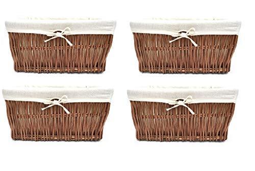 topfurnishing Pieno Vimini Resistente più Largo Grande Profonda Vimini Cesta Portaoggetti Natale Cestino Cesto Regalo - Quercia, Set of 4 Large 46x35x19.5cm