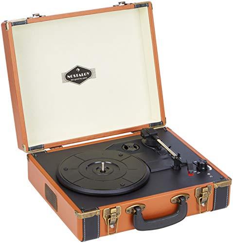Auna Jerry Lee Retro-Plattenspieler, USB, integrierter Stereo-Lautsprecher, Cinch-Ausgang, LP-Digitalisierer, Vintage-Koffer