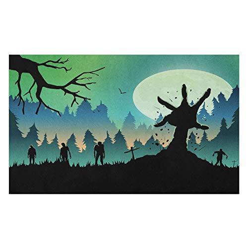 ABAKUHAUS Halloween Doormat, Zombies on Forest Hill, Decorative Polyester Floor Mat with Non-Skid Backing, 18' x 30', Charcoal Grey Green and Teal