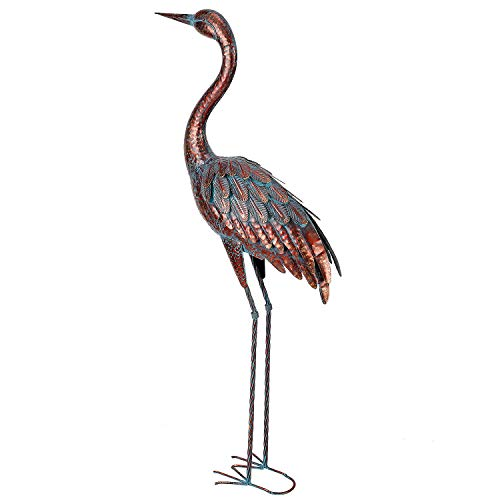 chisheen Outdoor Garden Crane Statues and Sculptures Metal Yard Art Statue for Garden Living Room Decoration Large Size