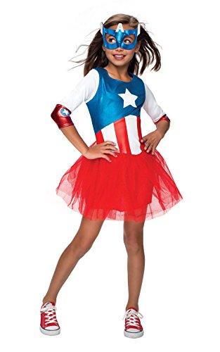 Rubies Officielle Captain America + Masque Filles Déguisement Marvel Superhero Costume pour Enfant