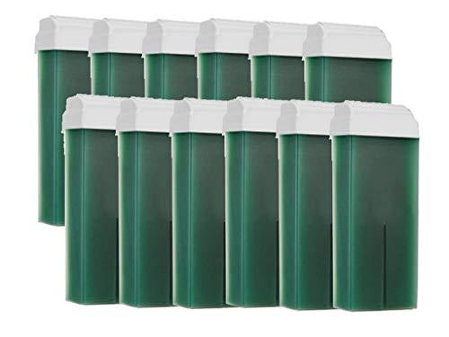 12 Cartouches de cire à épiler VERTE, roll on standard, épilation avec bande,PUREWAX By Purenail Livraison GRATUITE
