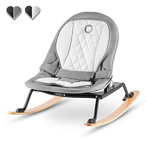 Lionelo Rosa Baby Wippe Baby Schaukel ab Geburt bis 9 kg Einsatz für Neugeborene Holz Kufen Liegeposition Sitz 90 Grad drehbar skandinavisches Design zusammenklappbar, Grau-Schwarz
