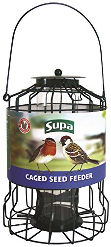 Supa Wild Bird Caged Seed Feeder | Deters Squirrels and Larger Birds Such As Doves & Pigeons