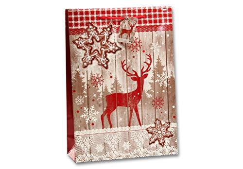 Bambelaa! 12 stuks hoogwaardig kerstmotief hert op houten wand papieren zakken geschenkzakjes presentatiezakjes papieren zakje kerstzakje Kerstmis 157 g papier, glanzend (ca. 18 x 8 x 23 cm).