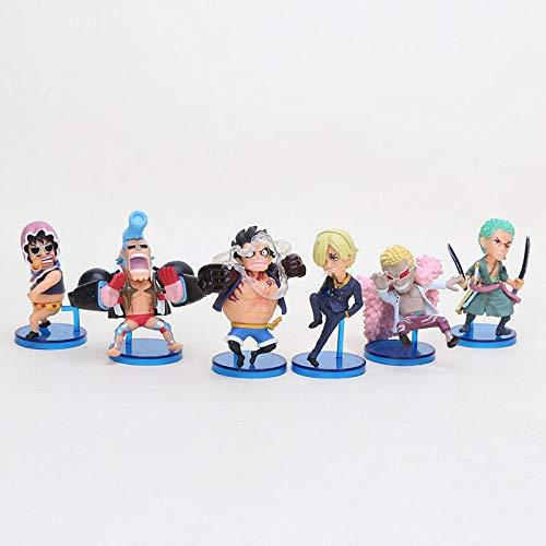 MNZBZ 6pcs / Set One Piece WFC Gear 4 Luffy Zoro Sanji Charlotte Linlin Katakuri Zeus Zanahoria Ace Marco PVC Figuras Modelo de Juguete Modelo 6 Piezas