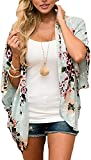JFAN Mujer Chal Flojo Cárdigan Kimono Florales Caftán de Playa Blusa de Gasa Boho con Estampado Floral Ahumado Blusa Floral Suelta Casual(Verde Floral,M)