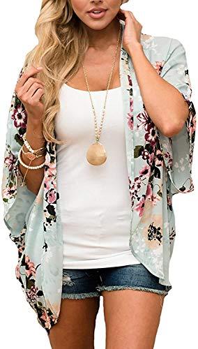 JFAN Mujer Chal Flojo Cárdigan Kimono Florales Caftán de Playa Blusa de Gasa Boho con Estampado Floral Ahumado Blusa Floral Suelta Casual(Verde Floral,L)
