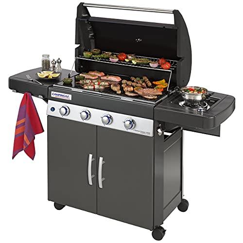 Campingaz Gasgrill 4 Series Classic EXSE, BBQ Grill mit 4 Edelstahl-Brennern und Seitenkocher, Standgrill mit Deckel und Thermometer, InstaClean Reinigungssystem und Culinary Modular System, Schwarz