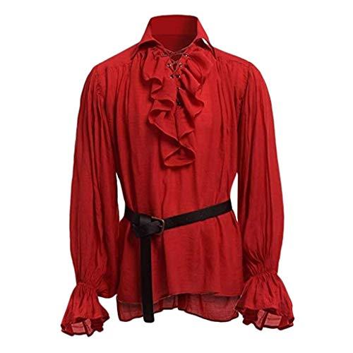 STRIR Camisa con Cordones renacentista Medieval Túnica Medieval Traje Caballero Viking Guerrero Camiseta con Cinturón para Hombres Disfraz de Pirata de la Edad Media (XXL, Rojo)